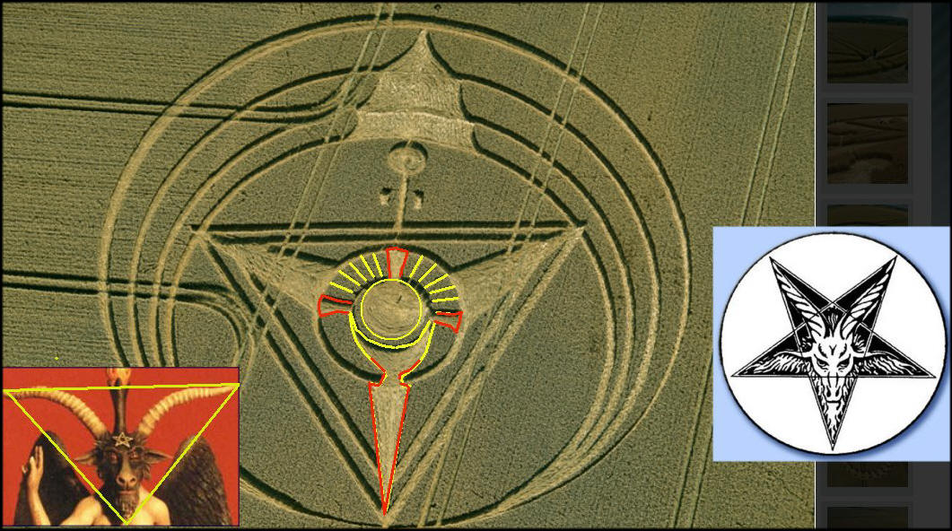 fig. 4 shows a TRIANGLE with the SUMMIT at the bottom. This is the mason sign of the he-goat, evil, devil, as you like to call it. Other crops shows the sign of the pentangle indicating the masonry.