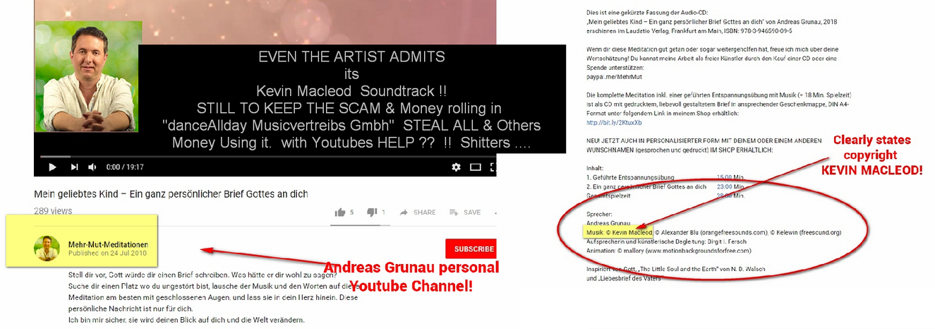 DANCEallDay Musicvertriebs scammers gmbh FALSE claim YOUTUBE Videos