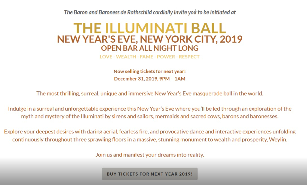 The illuminati Rothschilds New Years Eve Party Invite