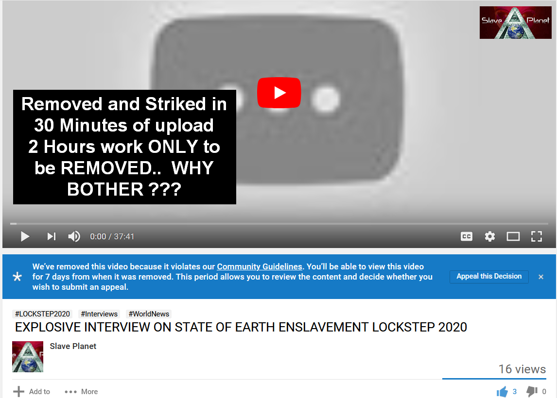 BANNED From TheirTube EXPLOSIVE INTERVIEW ON STATE OF EARTH ENSLAVEMENT LOCKSTEP 2020