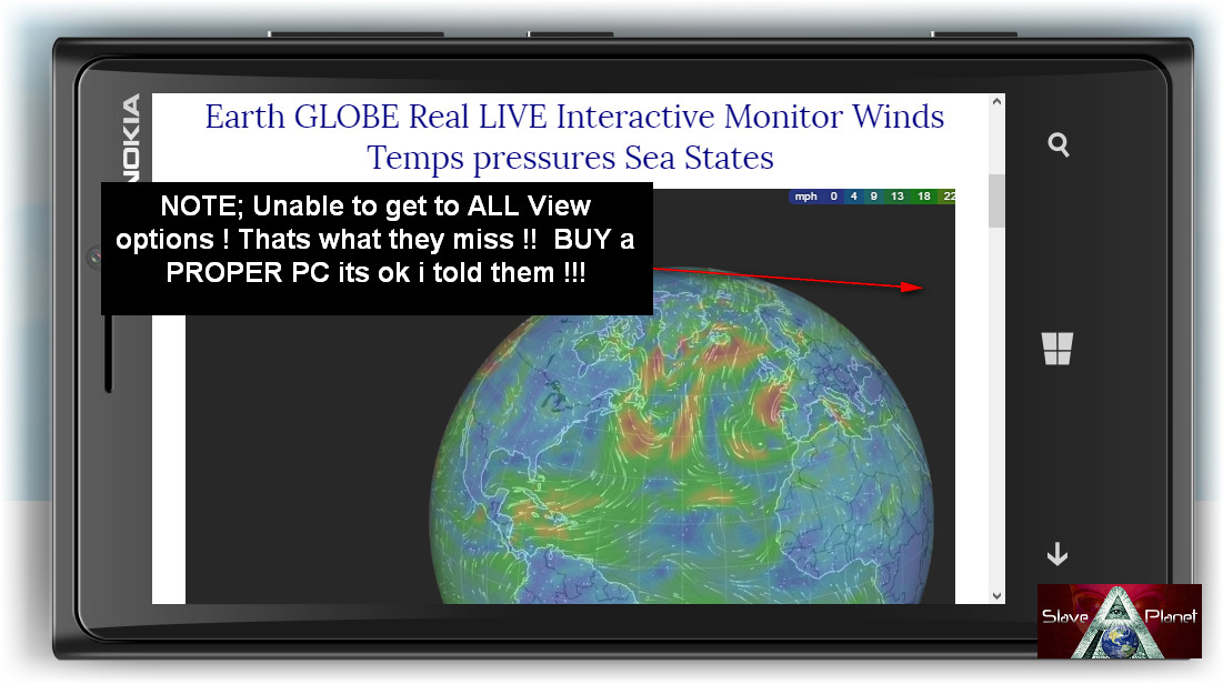 Earth GLOBE Real LIVE Interactive Monitor Winds Temps Pressures Sea States